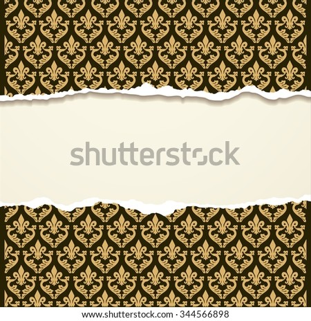 Tear paper on vintage background - stock vector