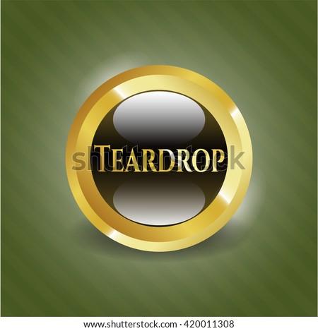 Teardrop golden emblem - stock vector