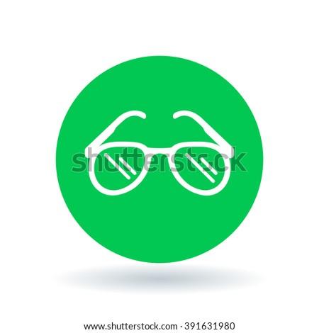 Teardrop sun glasses icon. Sunglasses sign. Sun shades symbol. Sun glasses icon on green circle background. Vector illustration. - stock vector
