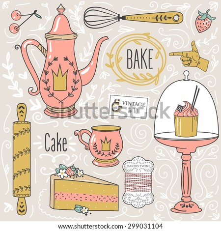 Teatime: tea pot, tea cup, cakes, leaves,baking items, decorative design elements. - stock vector