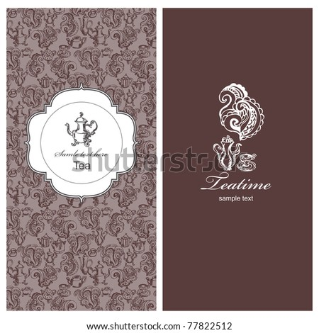 Teatime vintage banners - stock vector