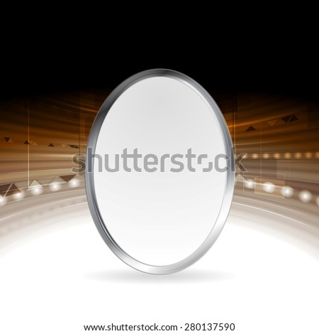 Tech abstract background with metallic ellipse. Vector design - stock vector