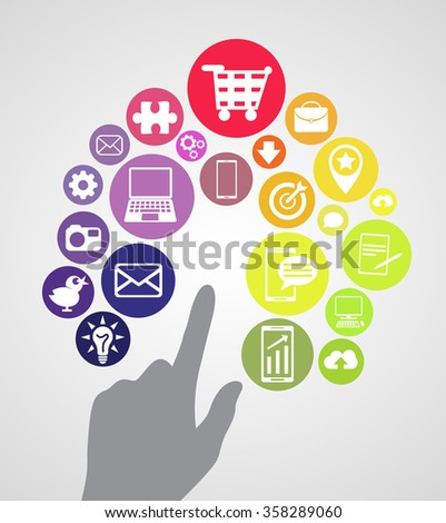 Tech apps icons. Finger points to application icons, isolated objects. vector created illustration, flat, 2d.  - stock vector