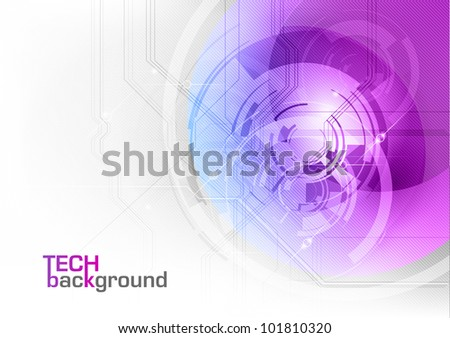 tech background in the purple color - stock vector
