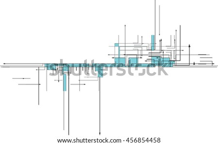 tech background with arrows - stock vector