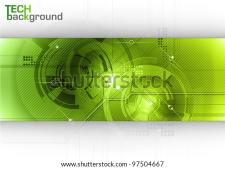 tech background with green center - stock vector
