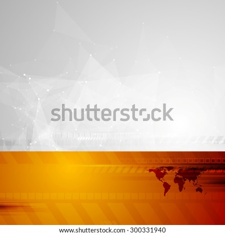 Tech background with low poly and world map. Vector design - stock vector