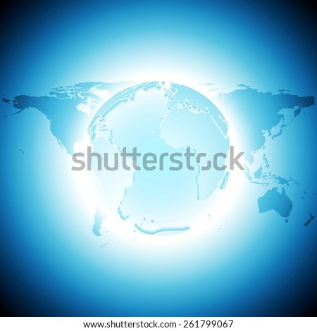 Tech background with map and globe. Vector design