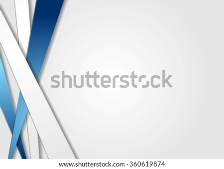 Tech corporate background with abstract stripes. Vector blue and grey graphic design - stock vector