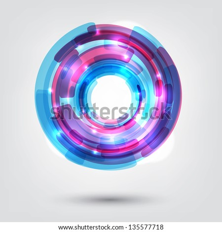 Tech design circle on white background. - stock vector