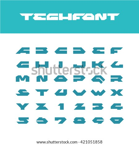 Tech font. Wide bold poster cornered letters. Industrial techno sharp angular style alphabet with number signs. - stock vector