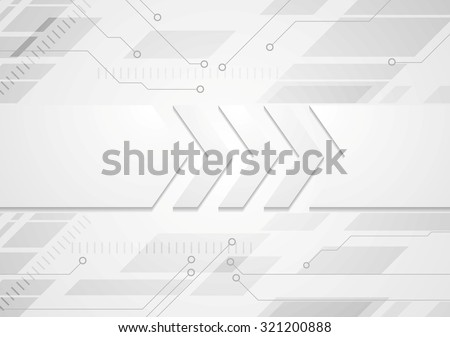 Tech grey abstract background with big arrows. Vector design - stock vector