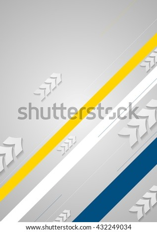 Tech minimal background with arrows and stripes. Vector illustration