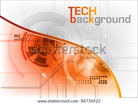technical background with orange line - stock vector