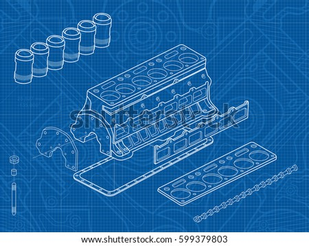 Technical blue background drawings details mechanismsengine stock technical blue background with drawings of details and mechanismsengine line drawing background vector malvernweather Images