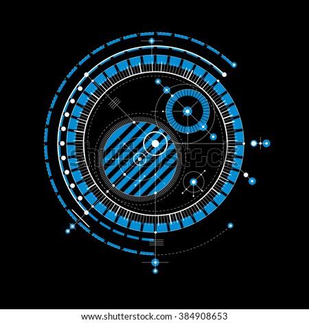 Technical blueprint blue vector digital background stock vector technical blueprint blue vector digital background with geometric design elements circles illustration of malvernweather Gallery