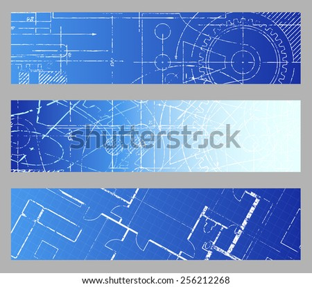 Technical blueprint engineering web banner vector backgrounds  - stock vector