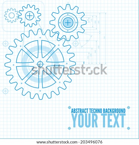 Technical blueprint template illustration on white stock vector technical blueprint template illustration on white vector background with cogs malvernweather Image collections