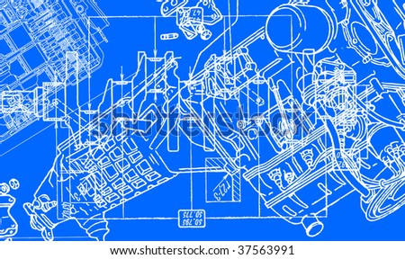technical drawing background 2 - stock vector