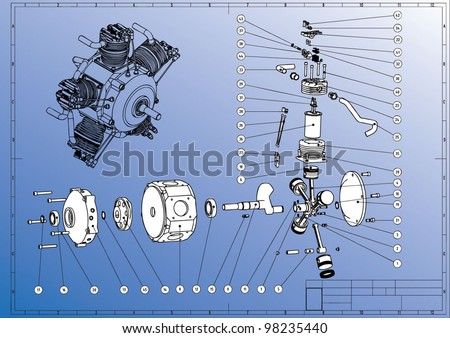 Technical drawing. Break-up assembly Radial Cylinder Engine. Vector image. - stock vector