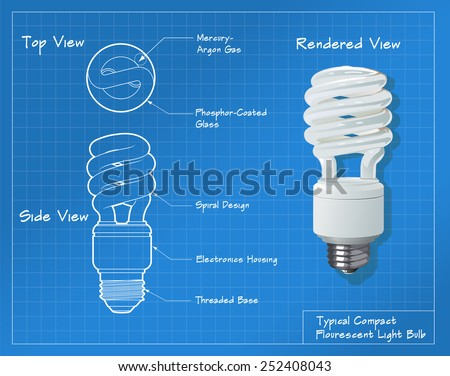 Technical drawing of a small compact fluorescent light bulb. All paths have been converted to shapes. Layer-separated.