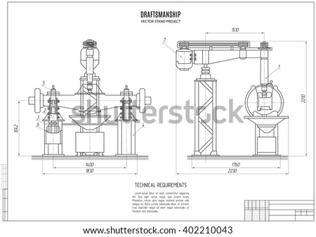 Technical Drawing Stand Design Project Construction Stock Vector ...