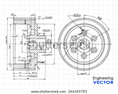 technical drawing wheel / vector illustration