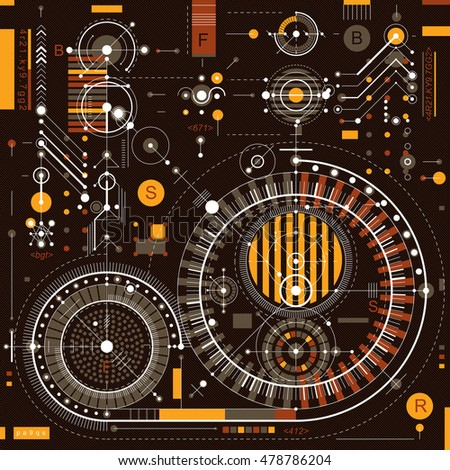 Technical drawing with dashed lines and geometric shapes, vector futuristic technology wallpaper, engineering draft.