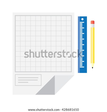 Technical drawing with yellow ruler and pencil