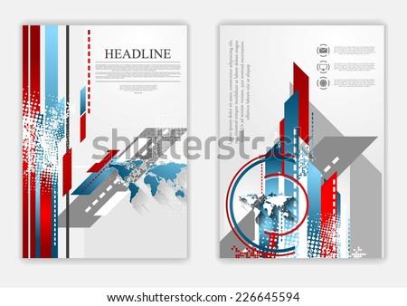 Technical flat flyer design. Vector background - stock vector