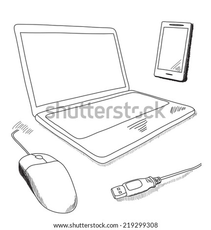 Technical illustration in doodle style. Sketch illustration of notebook and mobile. - stock vector