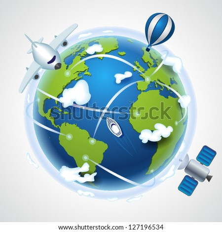 Technical Progress - plain, hot air balloon, satellite, ship moving around the world - stock vector