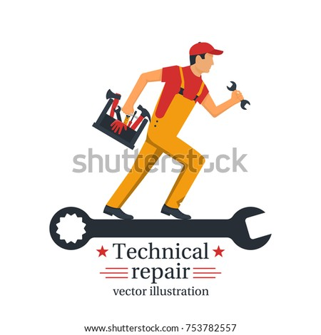 Technical repair. Banner call technician. Repairman hold wrench and tool box in hand. Vector illustration flat design. Isolated on white background. Worker customer service.