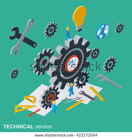 Technical service, customer support flat isometric vector concept illustration