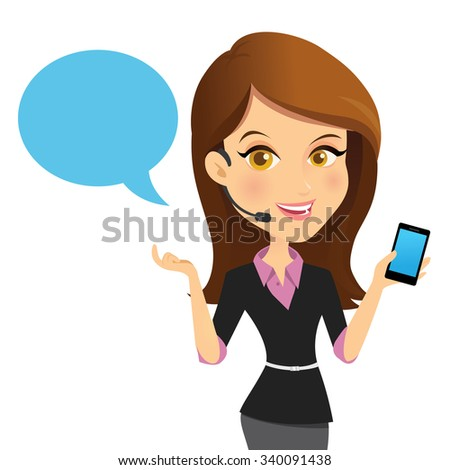 Technical support assistant,customer services,contact us,business woman. - stock vector