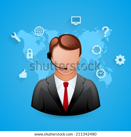 Technical support blue background. Man with icons. Vector illustration - stock vector