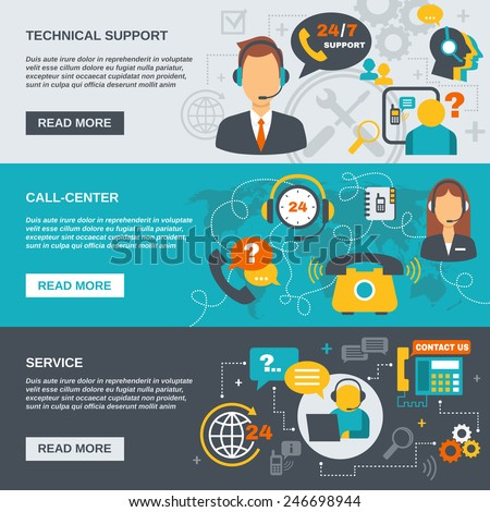 Technical support call center and service flat banner set isolated vector illustration - stock vector