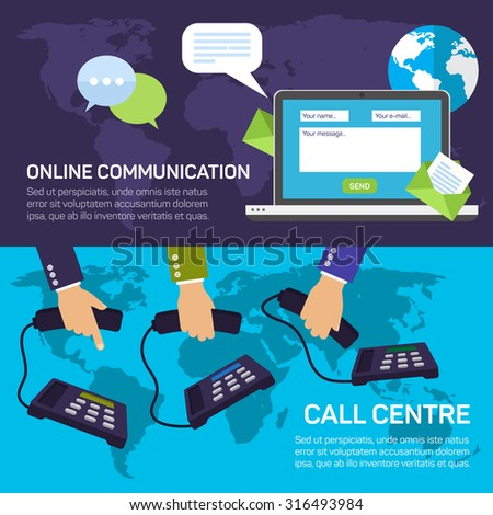 Technical support call center and service online communications flat banner set isolated vector illustration - stock vector
