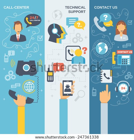 Technical support call center contact us flat vertical banner set isolated vector illustration - stock vector