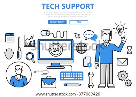 Technical support customer tech hotline concept flat line art vector icons. Modern website infographics illustration hero image web banner printed material. Creative lineart collection. - stock vector