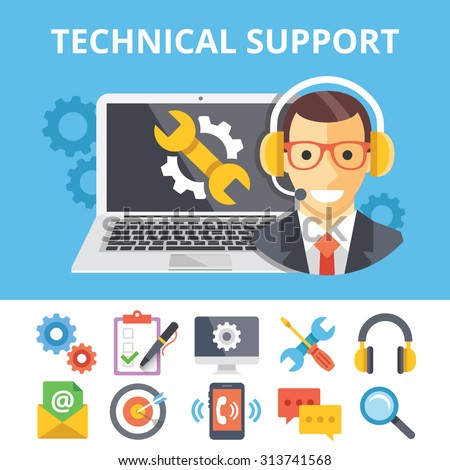 Technical support flat illustration and flat technical support icons set. Modern flat design graphic concepts for web banners, web sites, printed materials, infographics. Creative vector illustrations - stock vector