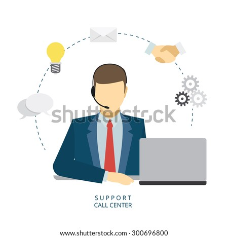 Technical support man operator flat vector icon - stock vector