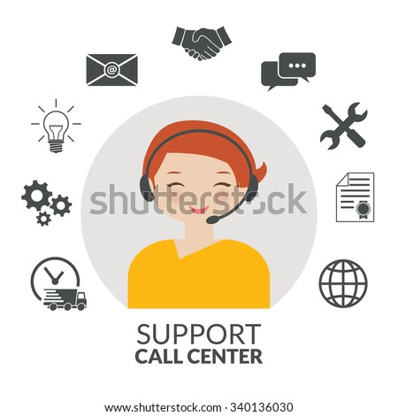 Technical support woman operator flat vector icon - stock vector