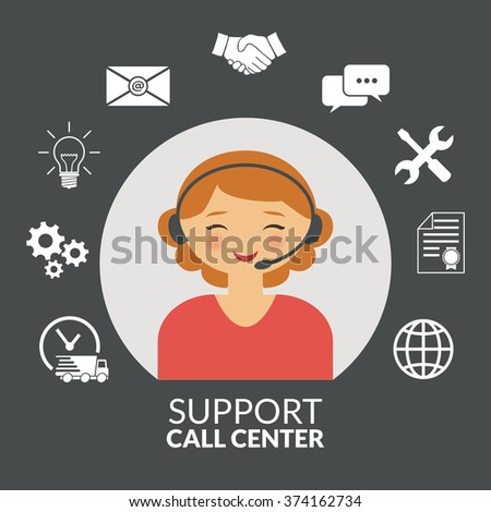 Technical support woman operator flat vector icon. - stock vector
