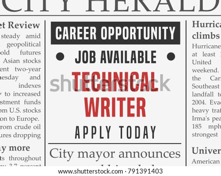 Technical writer career - job hiring classified ad vector in fake newspaper.