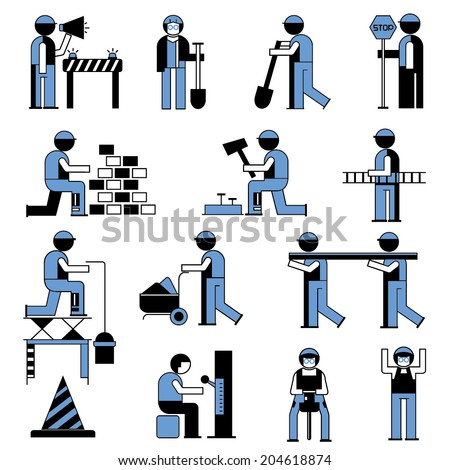 technician, mechanic people icons, working people in construction site - stock vector