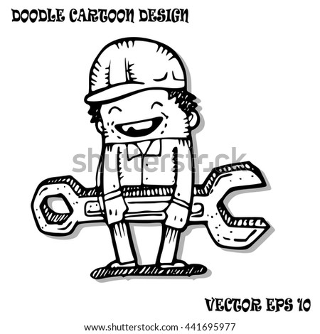 Technician service with big wrench , Cartoon by hand drawing