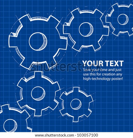 Techno blue background with hand drawing gears and sample text. Vector illustration - stock vector