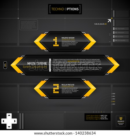 Techno layout with main theme banner and two options. EPS10. - stock vector