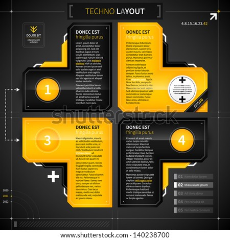 Techno layout with 4 options. - stock vector
